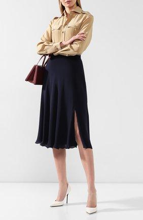 Женская шелковая юбка RALPH LAUREN темно-синего цвета, арт. 290788716 | Фото 2