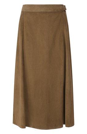 Женская замшевая юбка RALPH LAUREN зеленого цвета, арт. 290790828 | Фото 1