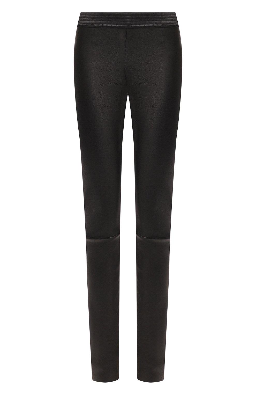 Женские кожаные леггинсы DROME черного цвета, арт. DPD1017P/D1835P | Фото 1 (Длина (брюки, джинсы): Удлиненные, Стандартные; Женское Кросс-КТ: Леггинсы-одежда, Кожаные брюки; Статус проверки: Проверена категория)