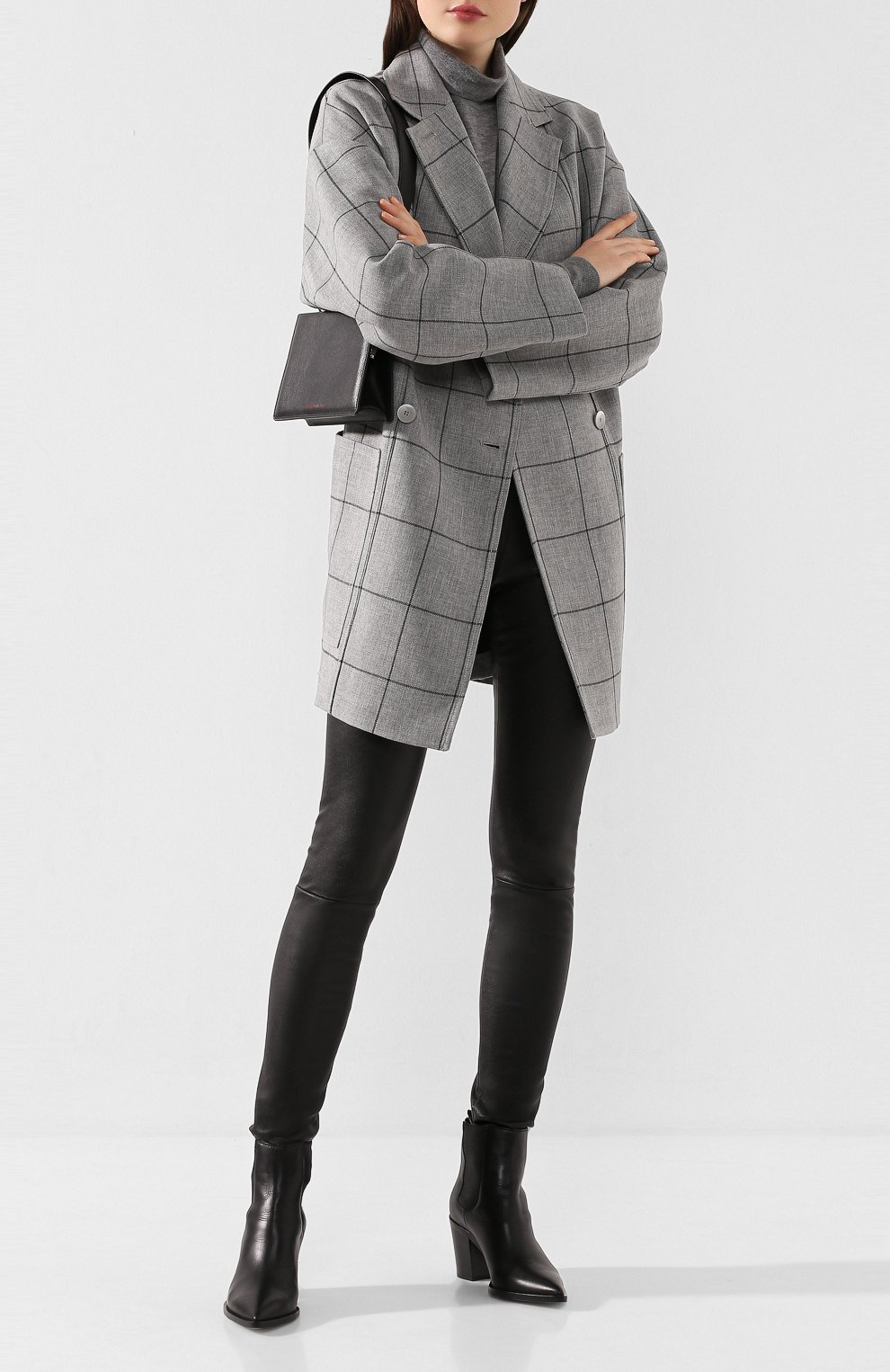 Женские кожаные леггинсы DROME черного цвета, арт. DPD1017P/D1835P | Фото 2 (Длина (брюки, джинсы): Удлиненные, Стандартные; Женское Кросс-КТ: Леггинсы-одежда, Кожаные брюки; Статус проверки: Проверена категория)