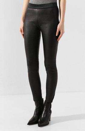 Женские кожаные леггинсы DROME черного цвета, арт. DPD1017P/D1835P | Фото 3 (Длина (брюки, джинсы): Удлиненные, Стандартные; Женское Кросс-КТ: Леггинсы-одежда, Кожаные брюки; Статус проверки: Проверена категория)