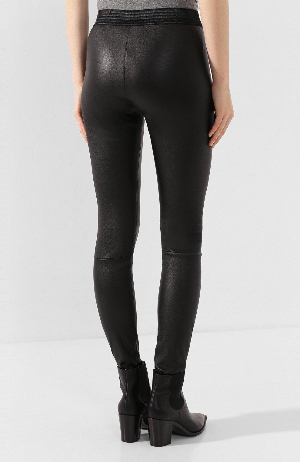 Женские кожаные леггинсы DROME черного цвета, арт. DPD1017P/D1835P | Фото 4 (Длина (брюки, джинсы): Удлиненные, Стандартные; Женское Кросс-КТ: Леггинсы-одежда, Кожаные брюки; Статус проверки: Проверена категория)