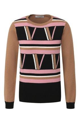 Женская пуловер из смеси шерсти и кашемира VALENTINO бежевого цвета, арт. TB3KC10J59R | Фото 1