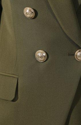 Женский шерстяной жакет BALMAIN хаки цвета, арт. TF17471/167L   Фото 5