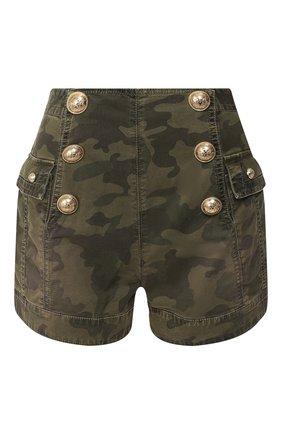 Женские джинсовые шорты BALMAIN хаки цвета, арт. TF15386/D015 | Фото 1