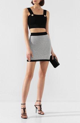 Женская юбка BALMAIN серебряного цвета, арт. TF14007/K049 | Фото 2