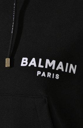 Женский хлопковое худи BALMAIN черно-белого цвета, арт. TF13792/I383 | Фото 5