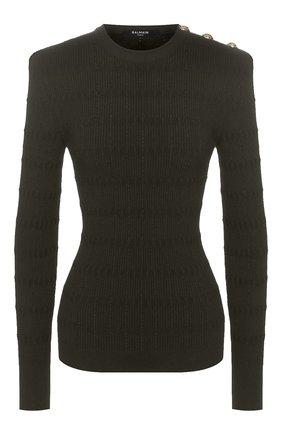 Женская пуловер BALMAIN хаки цвета, арт. TF13111/K030 | Фото 1
