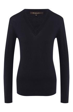 Женский шерстяной пуловер LORO PIANA темно-синего цвета, арт. FAI8067/VVIC   Фото 1