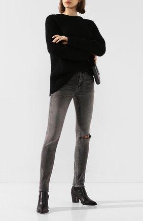 Женские джинсы SAINT LAURENT серого цвета, арт. 602798/YW500 | Фото 2