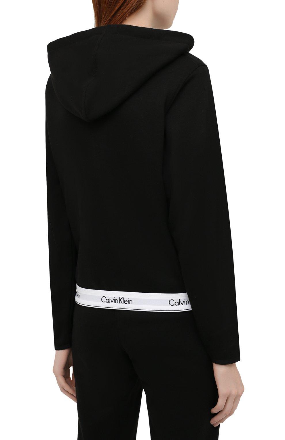 Женский хлопковая толстовка CALVIN KLEIN черного цвета, арт. QS5667E   Фото 4
