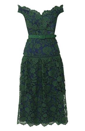 Женское платье с поясом SELF-PORTRAIT зеленого цвета, арт. RS20-074 | Фото 1