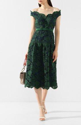 Женское платье с поясом SELF-PORTRAIT зеленого цвета, арт. RS20-074 | Фото 2