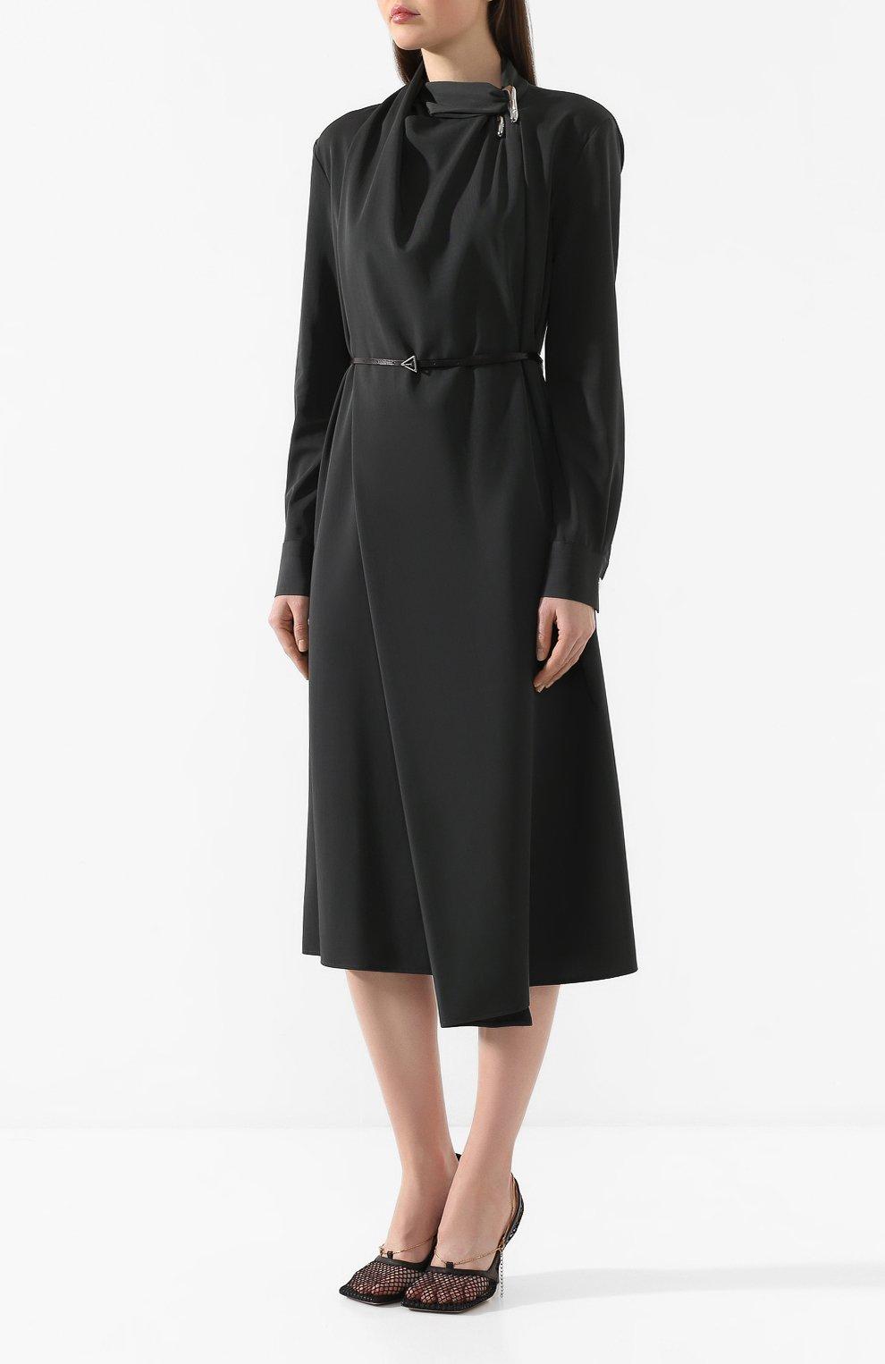 Женское шерстяное платье BOTTEGA VENETA зеленого цвета, арт. 610225/VKI30 | Фото 3