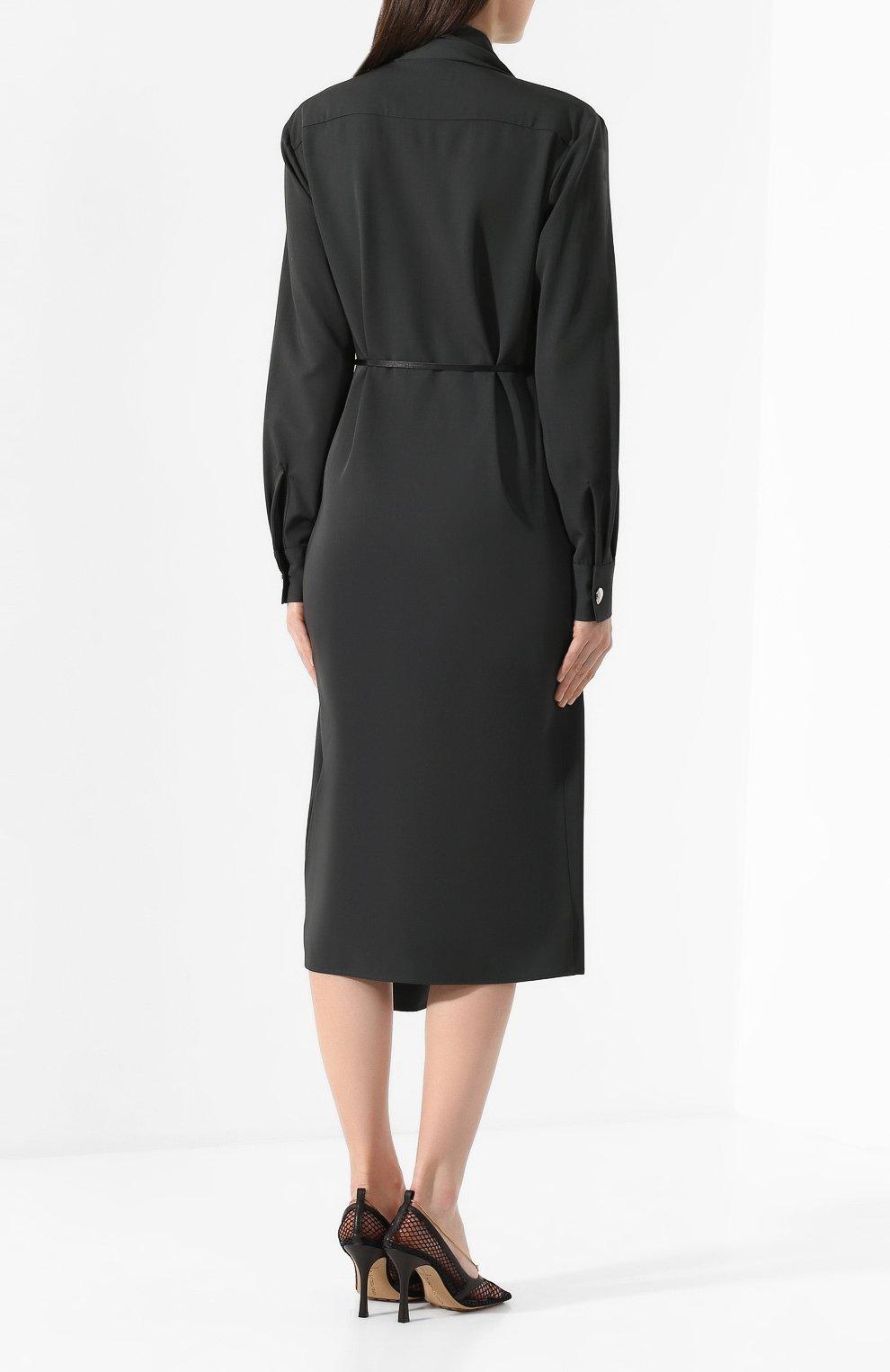 Женское шерстяное платье BOTTEGA VENETA зеленого цвета, арт. 610225/VKI30 | Фото 4