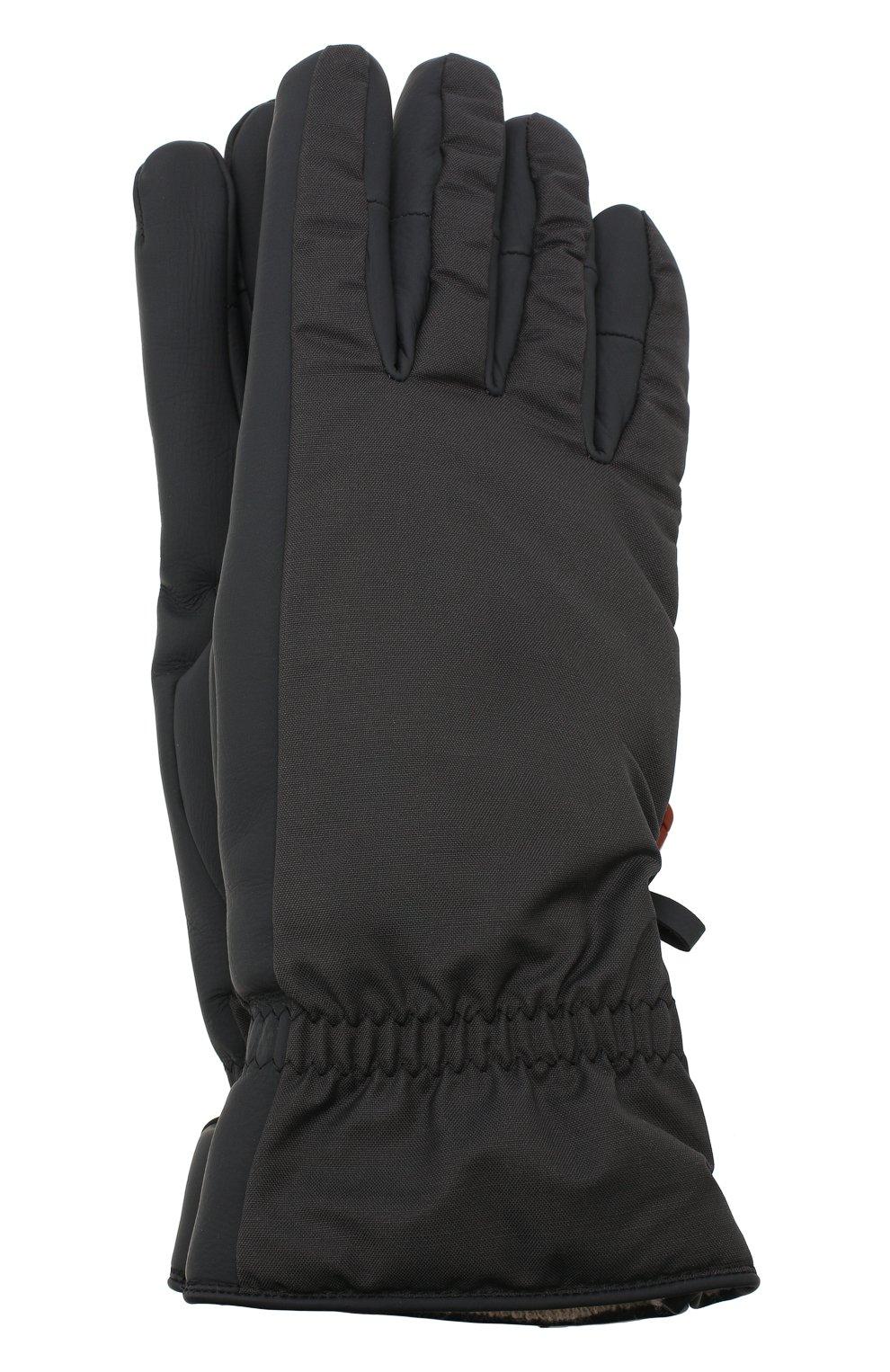 Мужские утепленные перчатки LORO PIANA темно-серого цвета, арт. FAI9728   Фото 1 (Кросс-КТ: Пуховик)