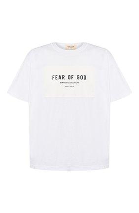 Мужская хлопковая футболка FEAR OF GOD белого цвета, арт. 6F19-1009/CTJ | Фото 1