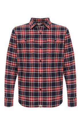 Мужская хлопковая рубашка BAPE красного цвета, арт. 1F70131003 | Фото 1