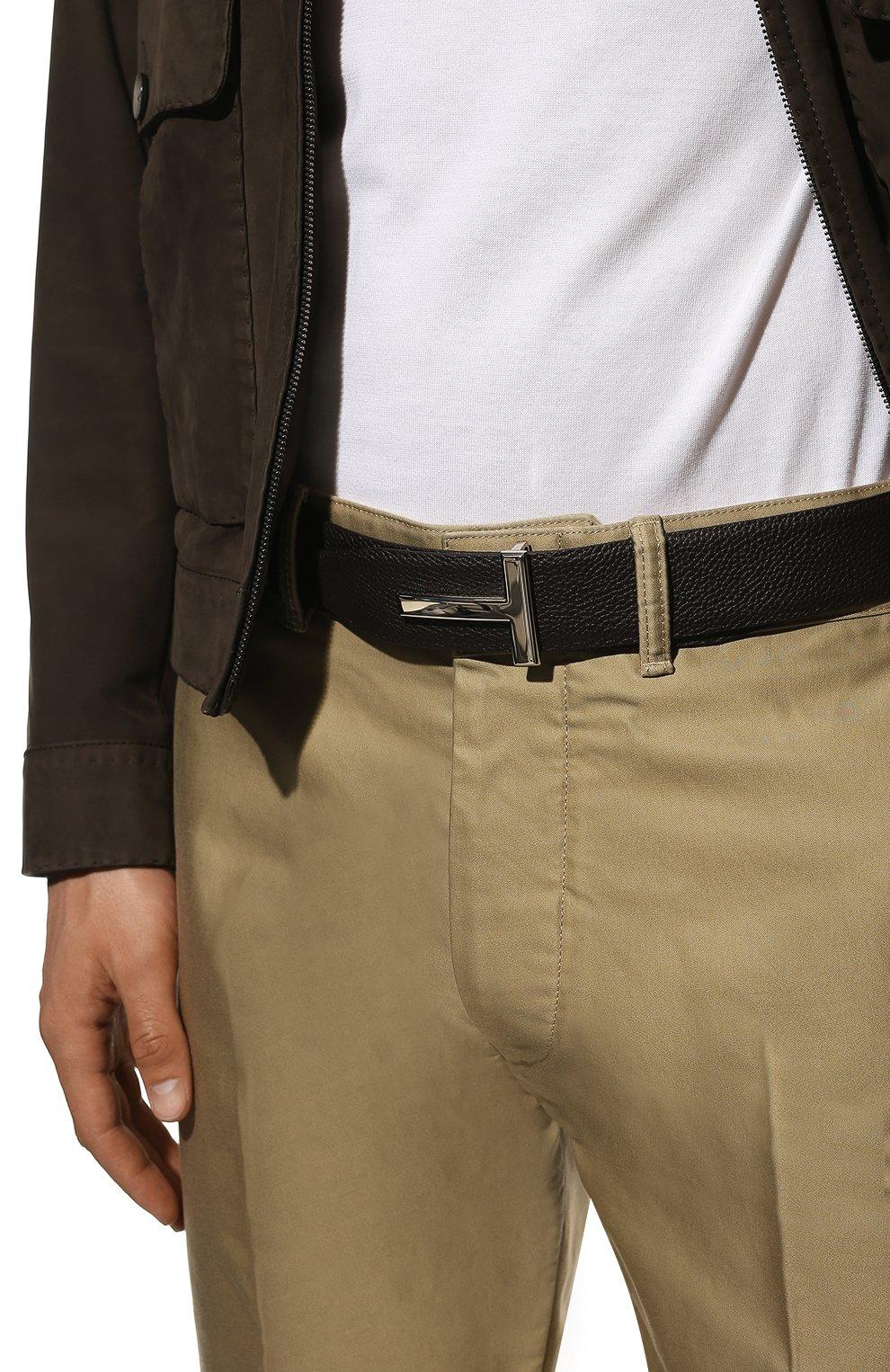 Мужской кожаный ремень TOM FORD коричневого цвета, арт. TB178P-LCL050   Фото 2 (Случай: Формальный)
