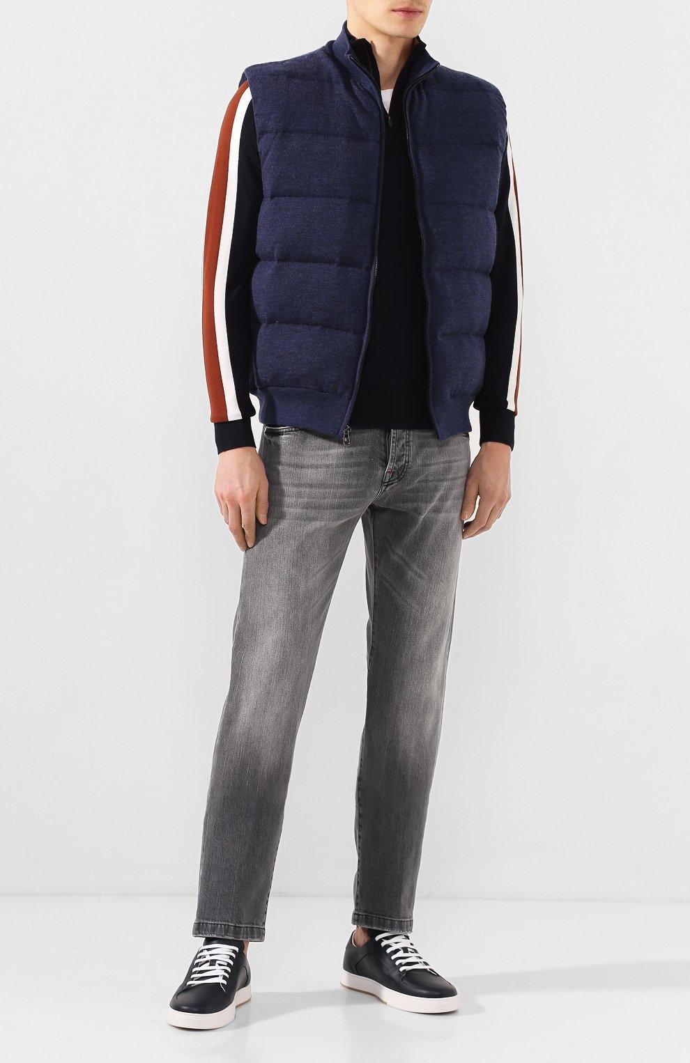 Мужские кожаные кеды BOTTEGA VENETA темно-синего цвета, арт. 608761/VT040   Фото 2