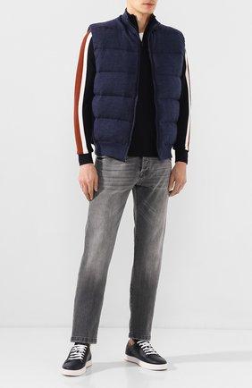 Мужские кожаные кеды BOTTEGA VENETA темно-синего цвета, арт. 608761/VT040 | Фото 2