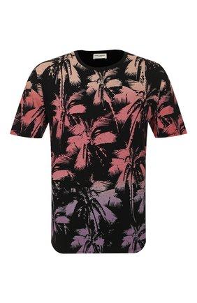 Мужская хлопковая футболка SAINT LAURENT розового цвета, арт. 604454/YB0Z2   Фото 1