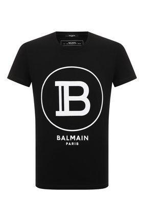 Мужская хлопковая футболка BALMAIN черного цвета, арт. TH11601/I201 | Фото 1