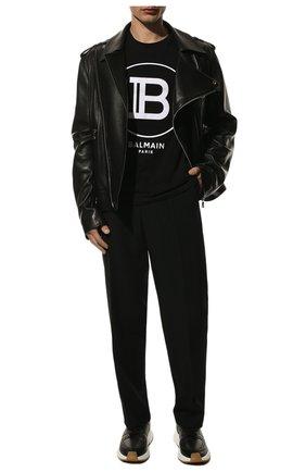 Мужская хлопковая футболка BALMAIN черного цвета, арт. TH11601/I201 | Фото 2