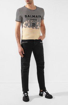 Мужская хлопковая футболка BALMAIN разноцветного цвета, арт. TH11601/I206 | Фото 2