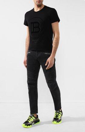 Мужская хлопковая футболка BALMAIN черного цвета, арт. TH11601/I233   Фото 2