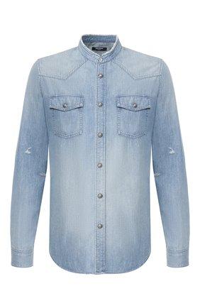 Мужская джинсовая рубашка BALMAIN синего цвета, арт. TH12328/Z090 | Фото 1