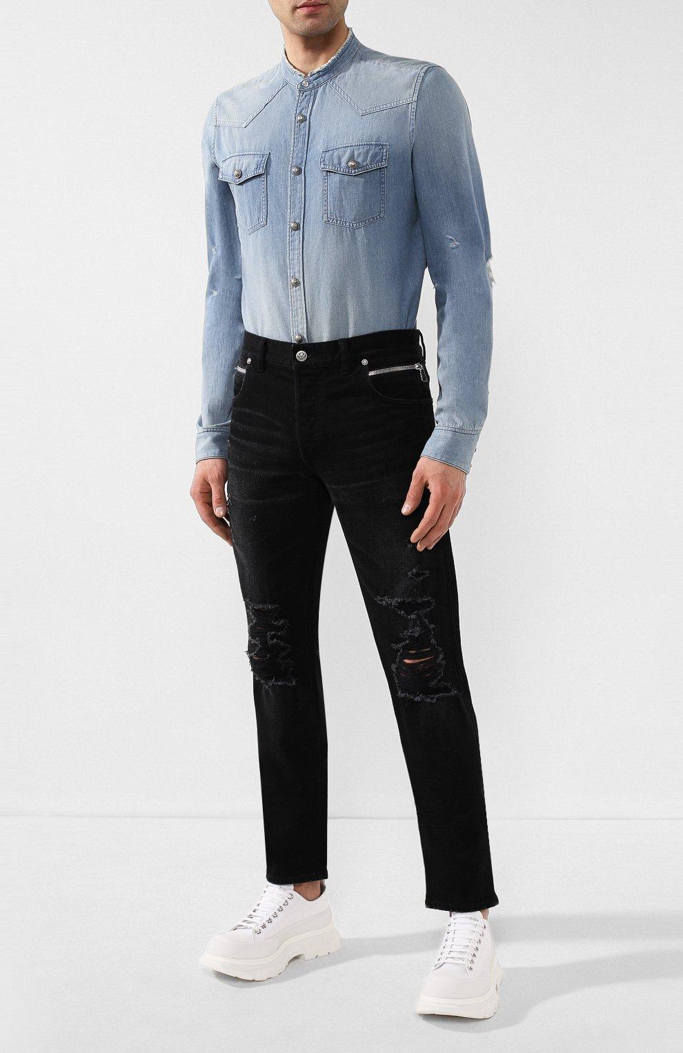 Мужская джинсовая рубашка BALMAIN синего цвета, арт. TH12328/Z090 | Фото 2