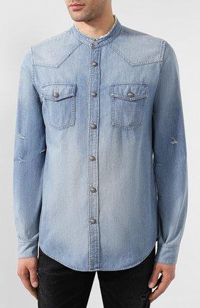 Мужская джинсовая рубашка BALMAIN синего цвета, арт. TH12328/Z090 | Фото 3