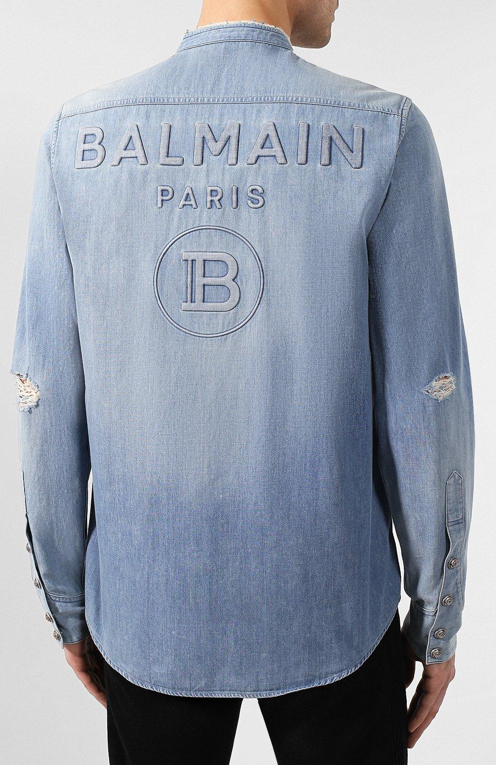 Мужская джинсовая рубашка BALMAIN синего цвета, арт. TH12328/Z090 | Фото 4