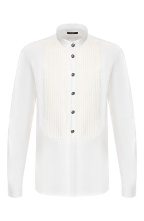 Мужская хлопковая рубашка BALMAIN белого цвета, арт. TH12451/T006 | Фото 1