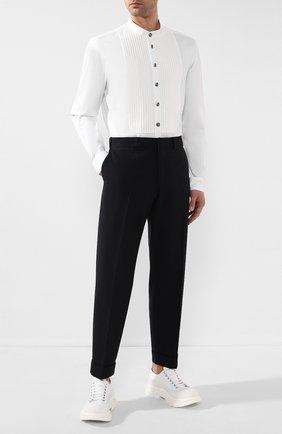 Мужская хлопковая рубашка BALMAIN белого цвета, арт. TH12451/T006 | Фото 2