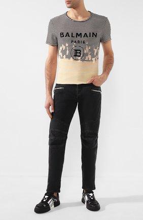 Мужские джинсы BALMAIN черного цвета, арт. TH15446/Z077 | Фото 2