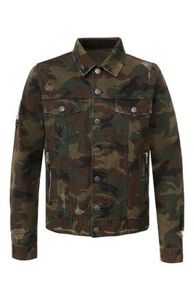 Мужская хлопковая куртка BALMAIN хаки цвета, арт. TH18639/Z099   Фото 1