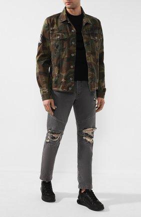 Мужская хлопковая куртка BALMAIN хаки цвета, арт. TH18639/Z099   Фото 2