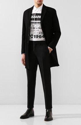 Мужские брюки из смеси шерсти и шелка DSQUARED2 черного цвета, арт. S74KB0379/S39408 | Фото 2