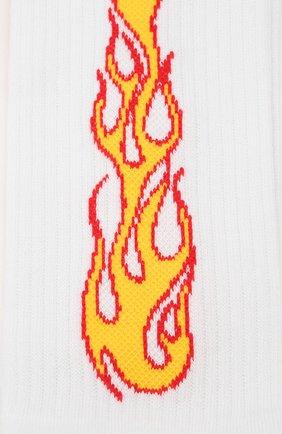 Мужские хлопковые носки PALM ANGELS белого цвета, арт. PMRA001R203950050188 | Фото 2