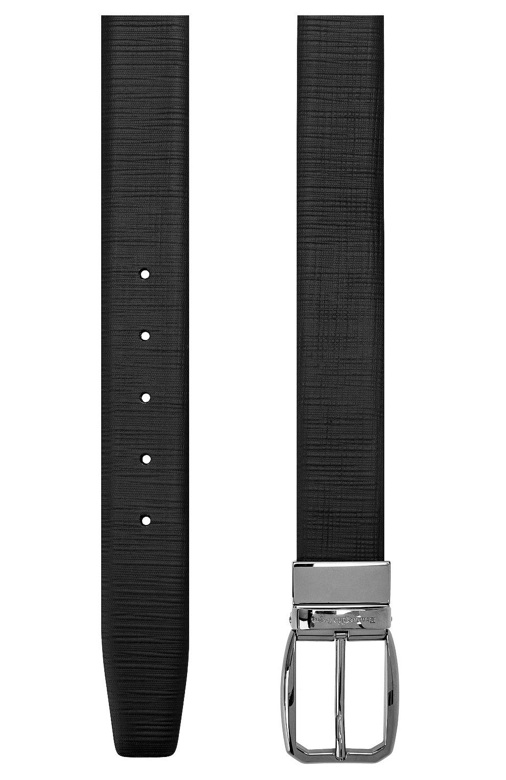 Мужской кожаный ремень ERMENEGILDO ZEGNA черного цвета, арт. BST01A/J0407B | Фото 2