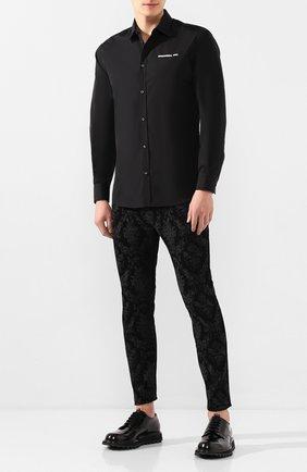 Мужской кожаные дерби DOLCE & GABBANA черного цвета, арт. A10513/A1037 | Фото 2