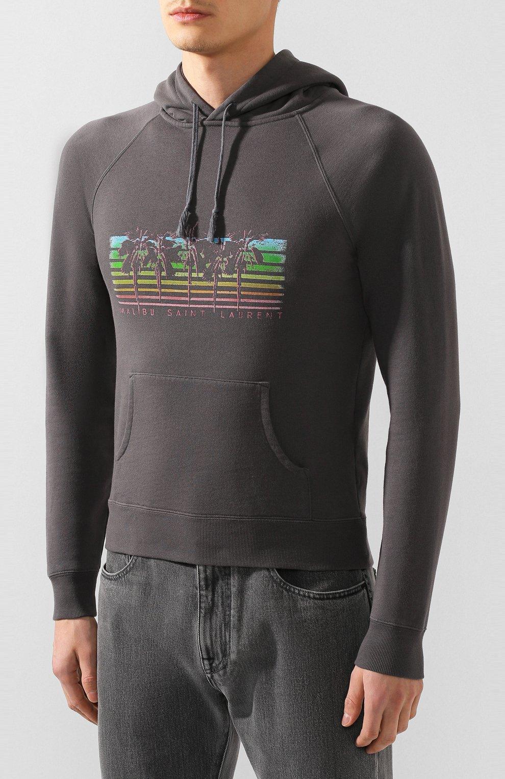 Мужской хлопковое худи SAINT LAURENT серого цвета, арт. 597199/YBQQ2   Фото 3