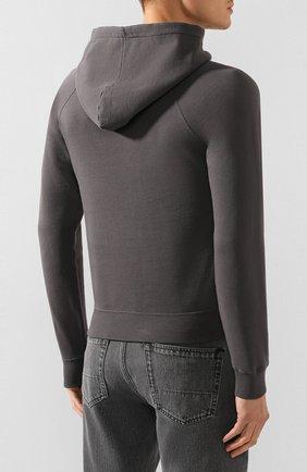 Мужской хлопковое худи SAINT LAURENT серого цвета, арт. 597199/YBQQ2   Фото 4