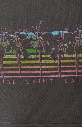 Мужской хлопковое худи SAINT LAURENT серого цвета, арт. 597199/YBQQ2   Фото 5