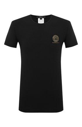 Мужские хлопковая футболка VERSACE черного цвета, арт. AUU01005/A232741 | Фото 1