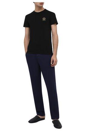 Мужские хлопковая футболка VERSACE черного цвета, арт. AUU01005/A232741 | Фото 2