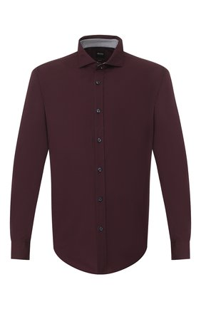 Мужская хлопковая рубашка BOSS бордового цвета, арт. 50421216 | Фото 1
