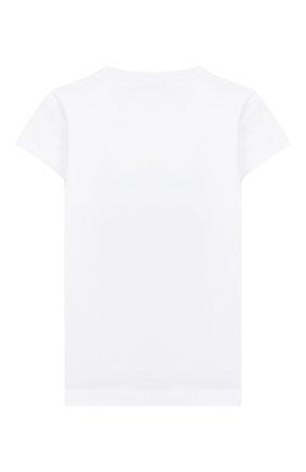 Детская хлопковая футболка MONNALISA белого цвета, арт. 195608R8 | Фото 2